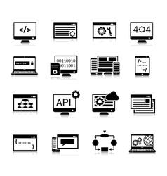 Programming icons black vector