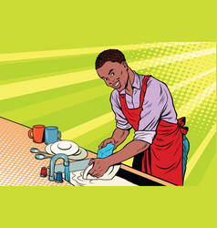 vintage worker washes dishes vector image