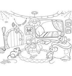 children coloring cartoon house family mouse vector image