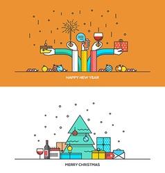 Christmas line design vector image