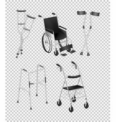 Different kinds of handicap equipments vector