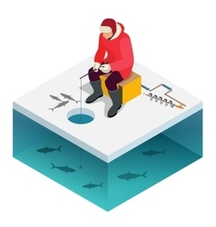 Ice fishing a man on the ice fishing Solitude vector image vector image