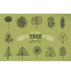 Custom Hand drawn tree icons set vector image vector image