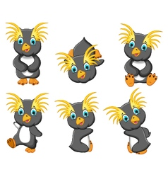 king penguins cartoon set character vector image