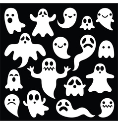Scary white ghosts design - Halloween vector image