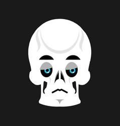 Skull sad emoji skeleton head sorrowful emotion vector