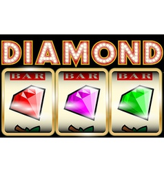 Slot machine with diamonds vector
