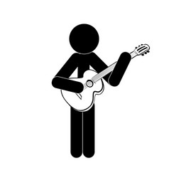 stick figure man stands and plays the classical vector image