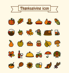 thanksgiving day icons set harvest vector image vector image