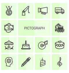 14 pictograph icons vector