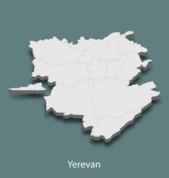 3d isometric map of yerevan is a city of armenia vector