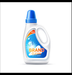 3d laundry detergent bottle mockup with lid vector image