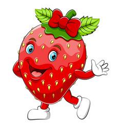 A cartoon happy strawberry character vector