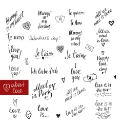 About love lettering collection Handdrawn vector