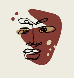 abstract face linemodern drawing in art vector image