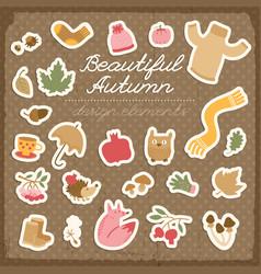 autumn design elements set vector image