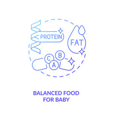 Balanced food for baby concept icon vector