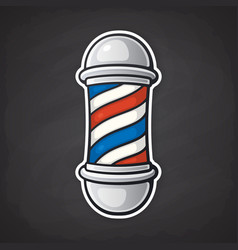 barber pole with red and blue spiral vector image