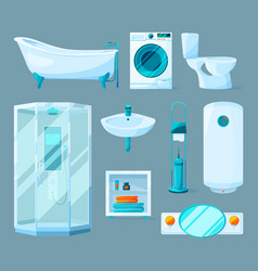 Bathroom interior furniture and different vector