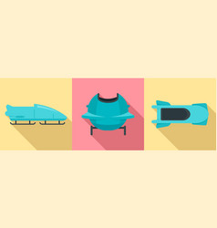 bobsleigh icon set flat style vector image