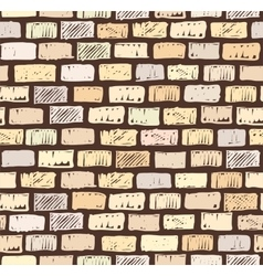 Brick wall on dark seamless pattern drawing vector image