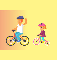 Brother and sister ride on bikes in helmets vector