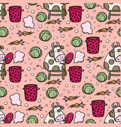 Bull makes vegetarian soup seamless pattern vector