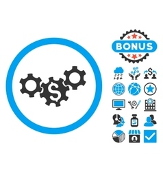 Business Gears Flat Icon with Bonus vector image