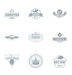 Cacao beans logo set simple style vector