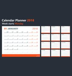 calendar 2018 starts monday calendar vector image