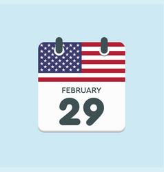 calendar day 29 february leap year flag usa vector image