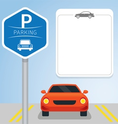 Car with Parking Sign vector image