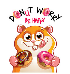 Cartoon hamster with donuts vector