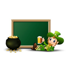 cartoon leprechaun holding a mug beer with chalkbo vector image