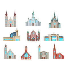 catholic church buildings isolated icons vector image