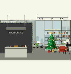 Christmas office in flat style vector