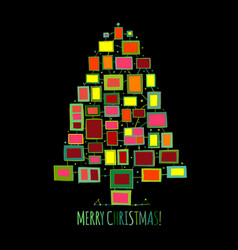 christmas tree made from photo frames greeting vector image