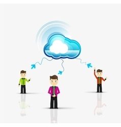 Cloud computing storage for group of people vector image