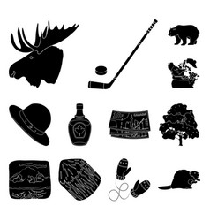 Country canada black icons in set collection for vector