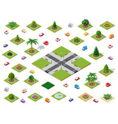 crossroads set city street vector image