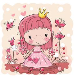 Cute cartoon fairy tale princess vector