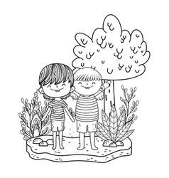 cute little kids in the landscape vector image