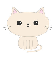 Cute sitting cat icon funny cartoon character vector