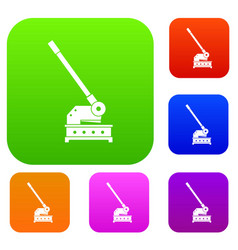 cutting machine set color collection vector image