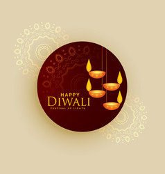 Diwali holiday greeting card design with hanging vector