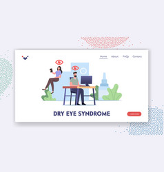 Dry eyes syndrome landing page template office vector