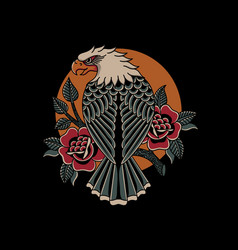eagle and roses traditional tattoo style vector image