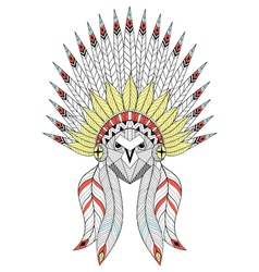 Entangle owl with war bonnet american native vector