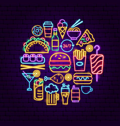 Fast food neon concept vector