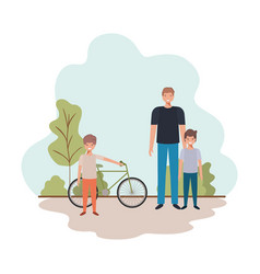 Father and sons with bicycle in landscape vector